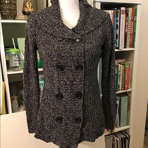 Mixed grey cardigan with hoodie S